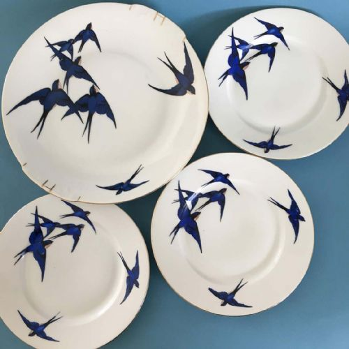 Art Deco - Czech - Blue Swallows - Cake Bread Plate + Tea Plates x 3